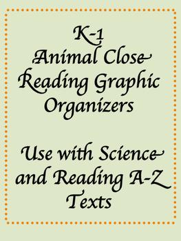Close Reading Animal Graphic Organizers