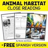 Close Reading Passage - Animal Habitat Activities