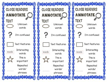 Close Reading Annotating Bookmarks