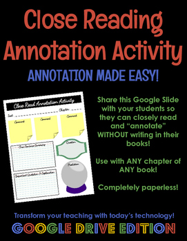 Close Reading Annotation Activity GOOGLE DRIVE EDITION - Use with ANY text