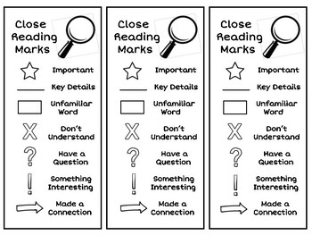 Close Reading Annotation Bookmarks