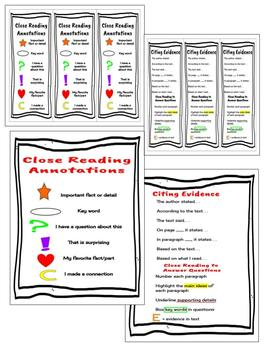 Close Reading Annotation Bookmarks and Posters