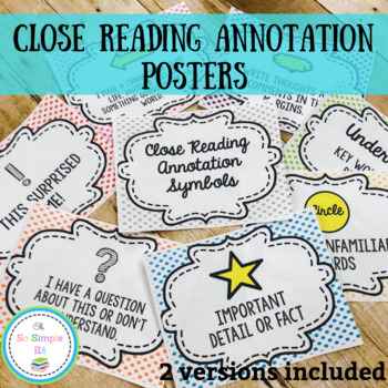 Close Reading Annotation Posters