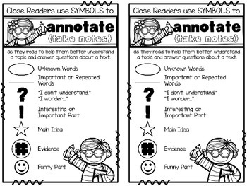 Close Reading Annotation Symbols