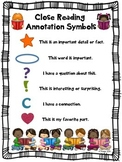 Close Reading Symbols Poster Chart, ANY Topic, Back to Sch