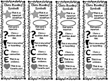 Close Reading Symbols Bookmarks, Back to School, Beginning of Year, ANY Topic