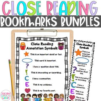 Close Reading Symbols Charts & Bookmarks BUNDLE, Fall & Autumn Reading