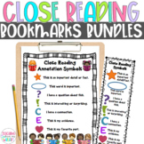 Close Reading Symbols Charts & Bookmarks BUNDLE, Back to School