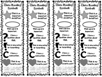 Close Reading Symbols Bookmarks, ANY Topic, Back to School