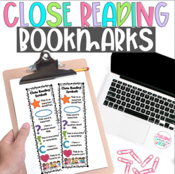Close Reading Symbols Bookmarks, ANY Topic, Winter Valentine's Day Close Reading