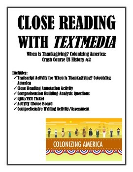Close Reading Annotation Writing Crash Course Thanksgiving