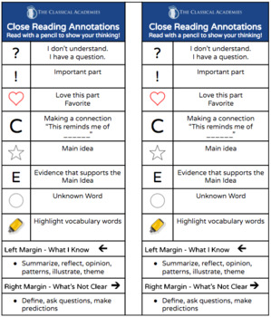 Close Reading Annotations Bookmark
