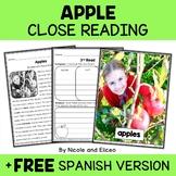 Apple Close Reading Passage Activities