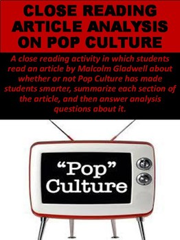 Close Reading Article Analysis on Pop Culture