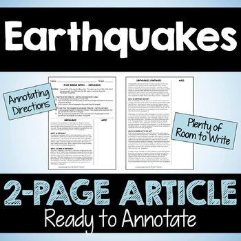 "Close Reading Article: ""Earthquakes"""