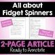 Close Reading Article - Fidget Spinners