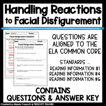"Close Reading Article ""Handling Reactions to Facial Disfigurement"""
