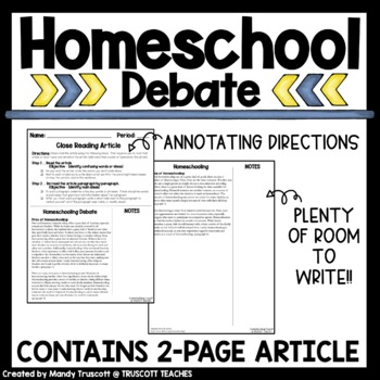 """Close Reading Article """"Homeschooling"""""""