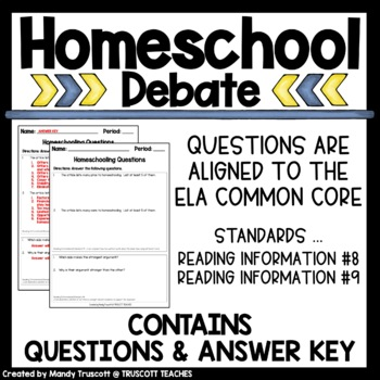 "Close Reading Article ""Homeschooling"""