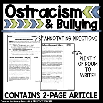 """Close Reading Article """"Ostracism as a form of Bullying"""""""