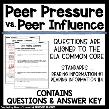 "Close Reading Article ""Peer Pressure vs. Peer Influence"""