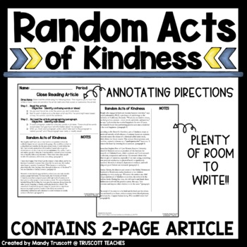 Close Reading Article - Random Acts of Kindness can be Good for your Health