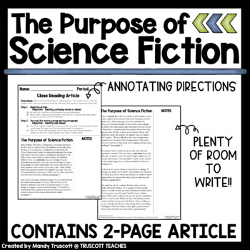 """Close Reading Article: """"The Purpose of Science-Fiction."""""""