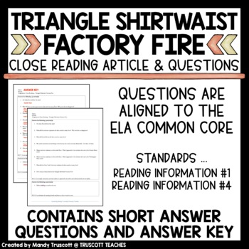 Close Reading Article: Triangle Shirtwaist Factory Fire