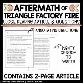 Close Reading Article: Triangle Shirtwaist Factory Fire Aftermath