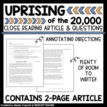 Close Reading Article: Uprising of the 20,000 (Garment Workers Strike of 1909)