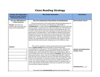 Close Reading Articles Of Confederation SS.7.C.1.5