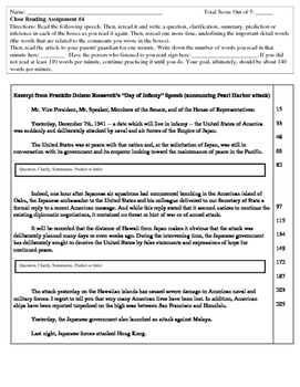 Close Reading Assignments Using Classic Speeches (Homework or Classwork) #4