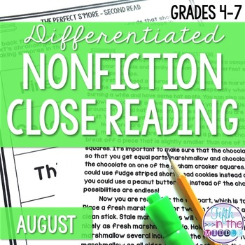 August Differentiated Nonfiction Close Reading Texts and Activities