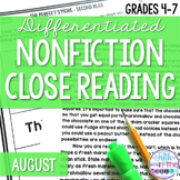 August Nonfiction Close Reading Comprehension Passages and Questions