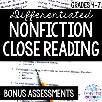 Differentiated Nonfiction Close Reading BONUS Assessments