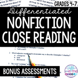 FREE Differentiated Nonfiction Close Reading Comprehension