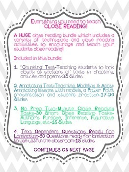 Close Reading BUNDLE-Huge Bundle with 7 Different Techniques