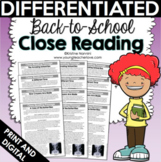 Reading Comprehension Passages and Questions - Close Reading Back to School