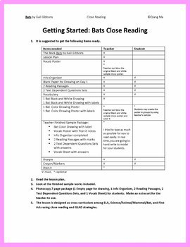 Close Reading: Bats by Gail Gibbons