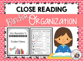 Close Reading Binder Organization
