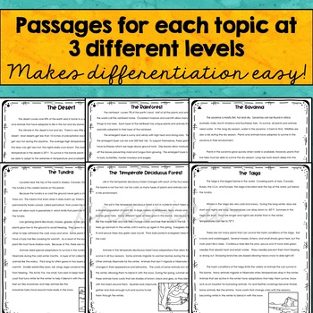 Close Reading Passages & text dependent questions- BIOMES