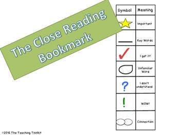 Close Reading Bookmark