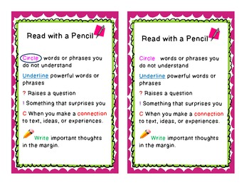 Close Reading Bookmark - Read With a Pencil