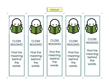 Close Reading Bookmarks: Reminders for Independent Readers