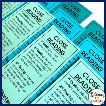 Close Reading Bookmarks & Teacher's Planning Matrix