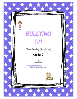 Close Reading Bullying Packet for SECOND GRADE