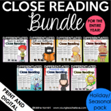 Reading Comprehension Passages and Questions - Close Reading Bundle Thanksgiving