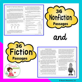 Reading Comprehension Passages and Questions 3rd, 4th, 5th