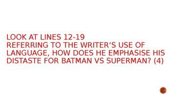 Close Reading Bundle: Batman vs Superman Close Reading Powerpoint