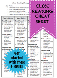 Close Reading Cheat Sheet with 4 Different Lenses